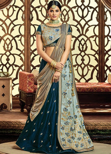 Supreme Velvet Raw Silk Blue Lehenga Choli SF6213 - Siya Fashions