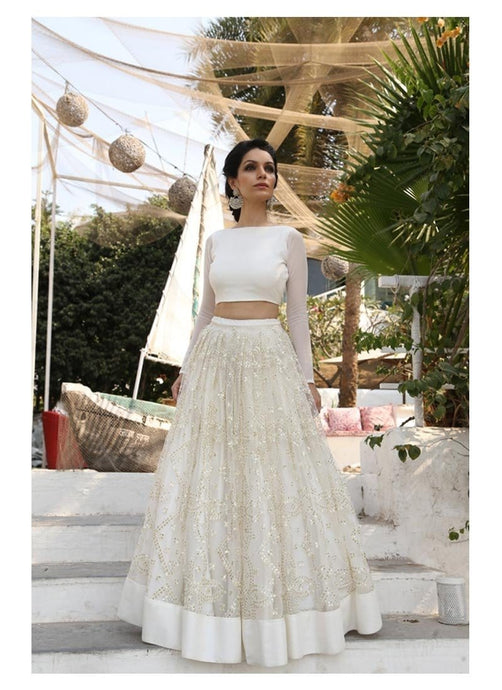White Evening Wedding Party Lehenga In Net SFIN0283 - Siya Fashions