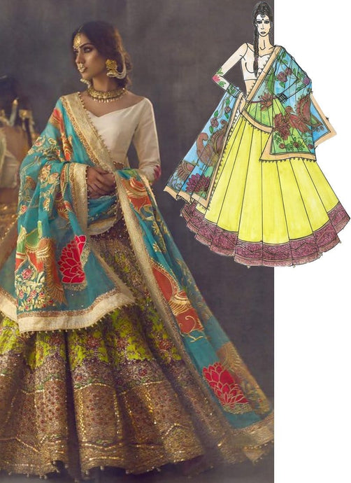 Xeeshan Ali Inspired Bridal Lehenga Choli In Yellow Green SFSHR098 - Siya Fashions