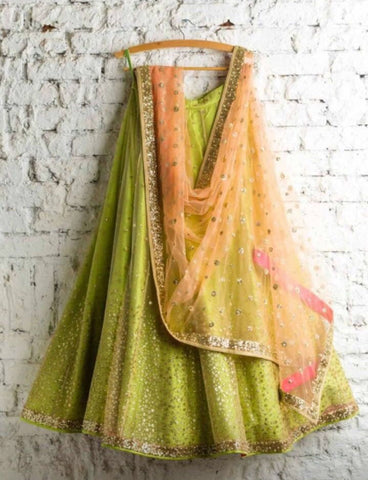 Green Bridal Reception Lehenga Set In Net Heavy Handwork INS911 - Siya Fashions
