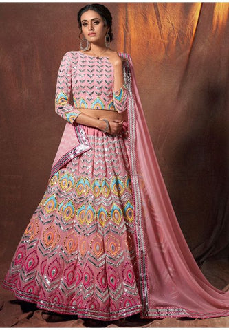 Pink Gota Work Sangeet Lehenga Choli In Georgette SFASHIONS89