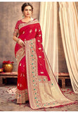 Upraised Red Banarasi Silk Saree Influential Weaving Work YDS1033 - Siya Fashions