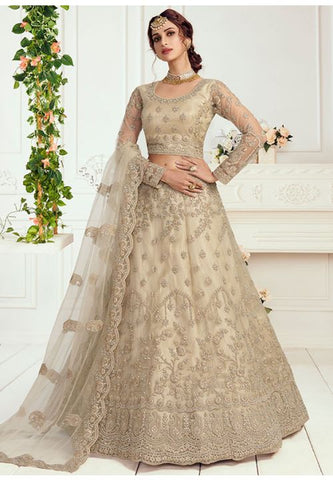 Ritzy Cream Wedding Lehenga Choli Net Badla Work SD063