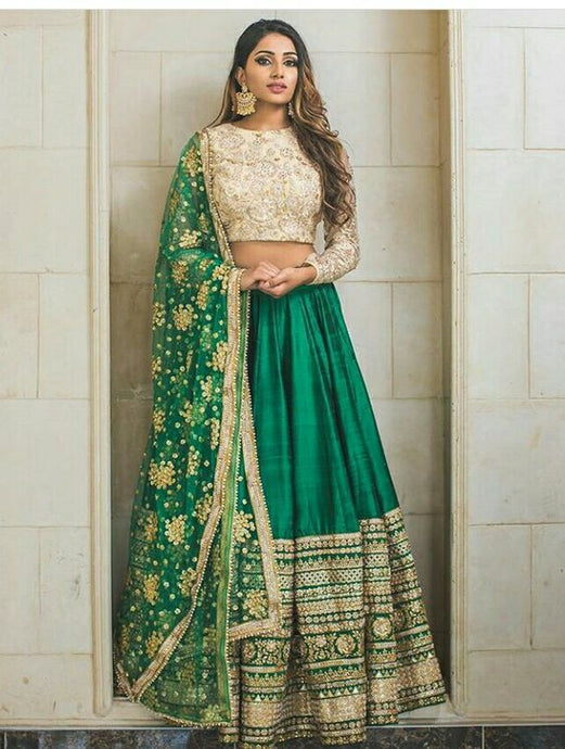 Buy Green Sangeet Lehenga In Silk SFSAN832 - Siya Fashions