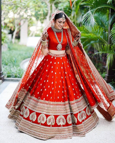 Bridal Wedding Red Silk Lehenga Choli Zari Work SIYA442INS