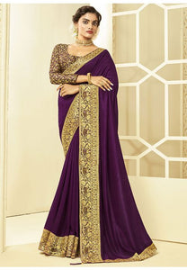 Purple Art Silk Saree With Brocade Blouse YDS1051 - Siya Fashions