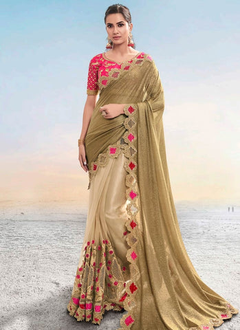 Beige Reception Party Wear Net Saree Pink Blouse SSFWED44 - Siya Fashions
