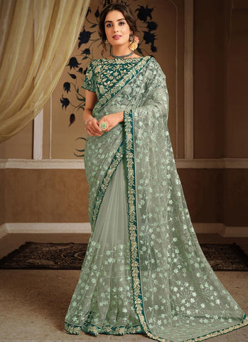 Voguish Green Wedding Party Saree In Net SFZ45 - Siya Fashions