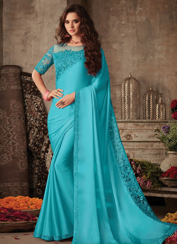 Modish Blue Satin Georgette Trendy Pary Saree SIYA102FZ - Siya Fashions