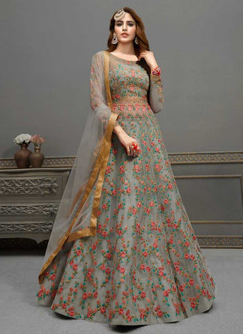 Bridal Peach Anarkali Gown In Net APRFZ656 - Siya Fashions