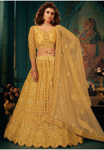 Gold Bridal Wedding Party Lehenga Choli Set Net Stones Work SIYA834 - Siya Fashions