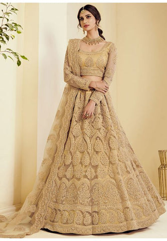 Beige Indian Wedding Reception Lehenga Choli In Net SI786 - Siya Fashions