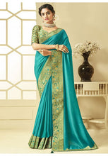 Load image into Gallery viewer, Turquoise Art Silk Saree With Brocade Blouse YDS1047