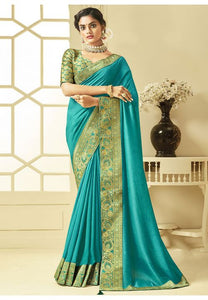 Turquoise Art Silk Saree With Brocade Blouse YDS1047