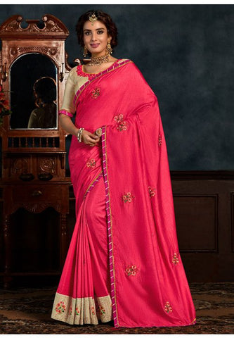 Pink Art Silk Saree Beige Raw Silk Blouse YD2158EX - Siya Fashions