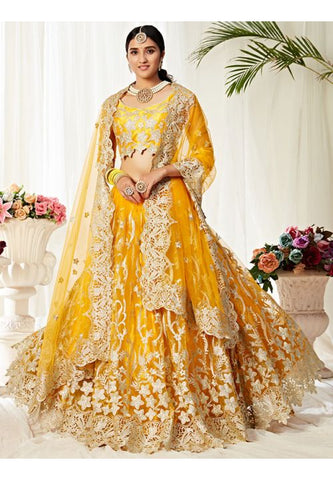 Yellow Haldi Gold Bridal Lehenga Choli In Net Badla Work SIYA0099 - Siya Fashions