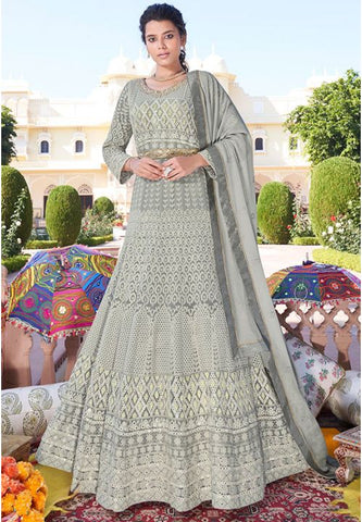Designer Georgette Long Readymade Anarkali Suit Lakhnavi Work APR2025 - Siya Fashions