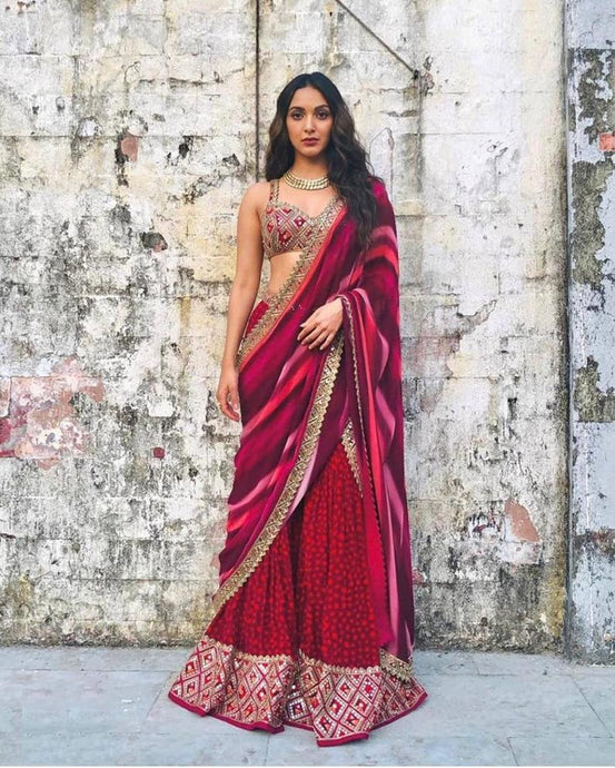 Designer Bollywood Actress Kaira Advani Jumpsuit Saree SFBIRDAL079 - Siya Fashions