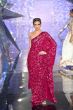 Red Bollywood Fully Sequined Hot Reception Wedding Partywear Saree BOL1093 - Siya Fashions
