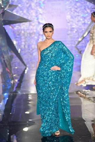 Turquoise Bollywood Fully Sequined Hot Reception Wedding Partywear Saree BOL1099 - Siya Fashions
