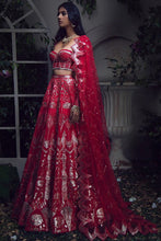 Load image into Gallery viewer, Red Bridal Leather Applique Work Lehenga Set SIYA423SDS - Siya Fashions
