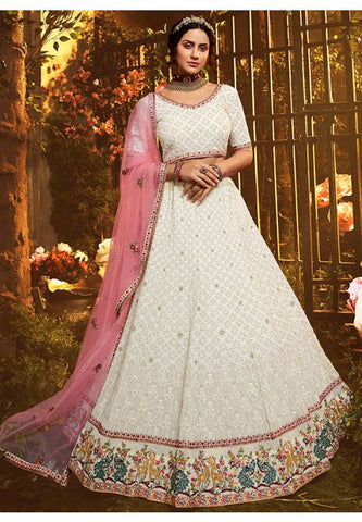 Luxury Pret Wedding Ivory Floral Reception Lehenga Zarkan Work BRI46 - Siya Fashions