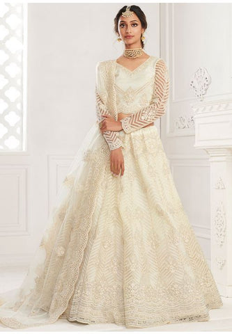 Ritzy Ivory Wedding Lehenga Choli Net Stone Work SD065 - Siya Fashions