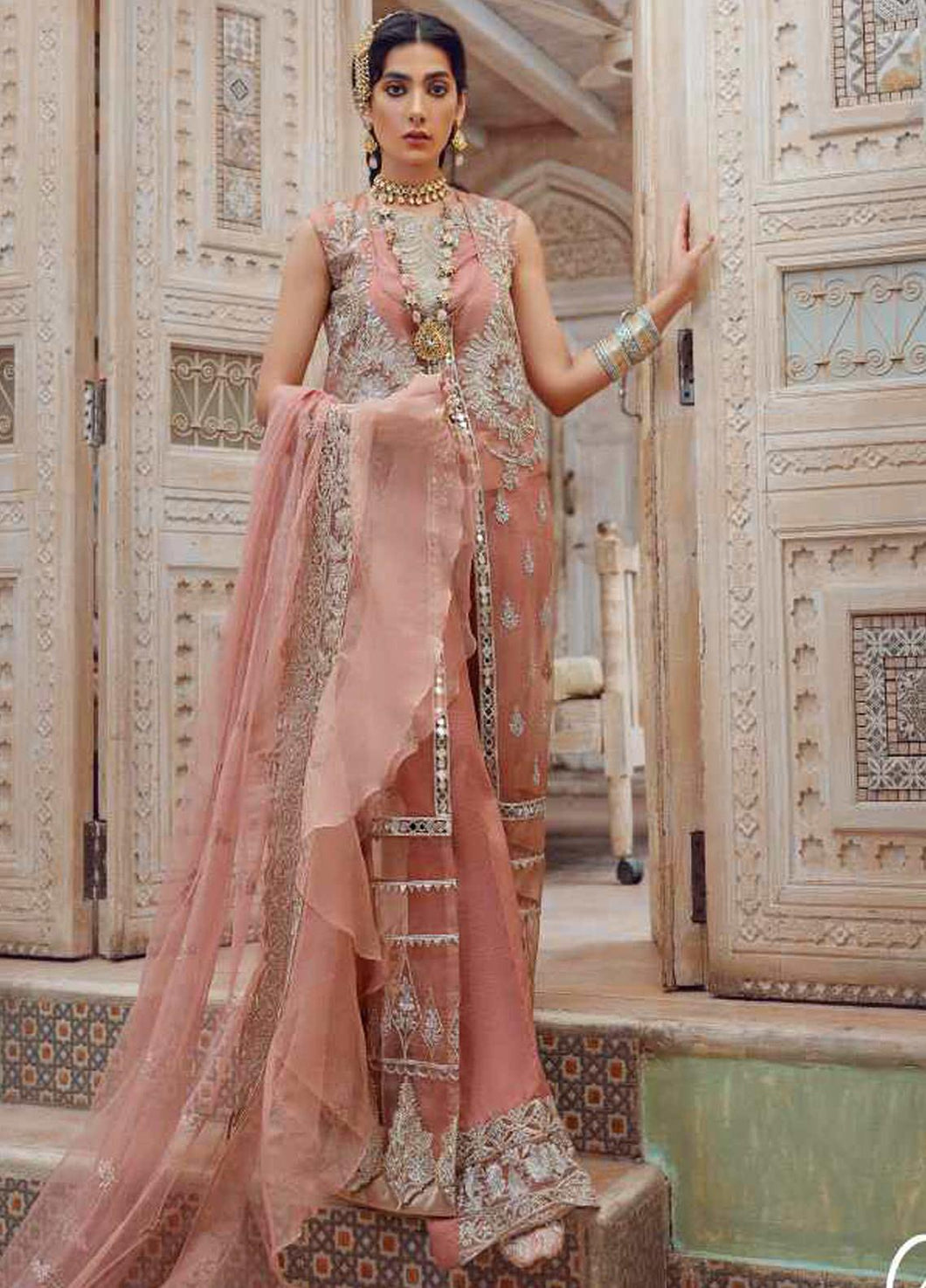 Peach Kinaar by Shiza Hassan Embroidered Poly Net Suit 3 Piece Suit - Aabroo - Siya Fashions