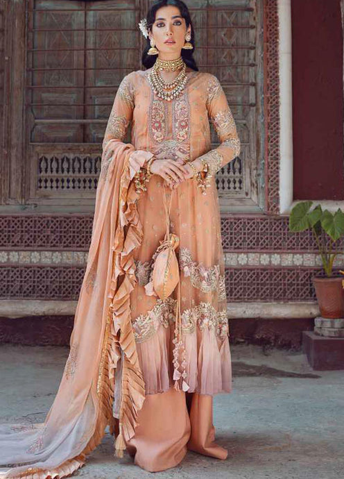 Peach Kinaar by Shiza Hassan Embroidered Poly Net Suit 3 Piece Suit - Heer - Siya Fashions