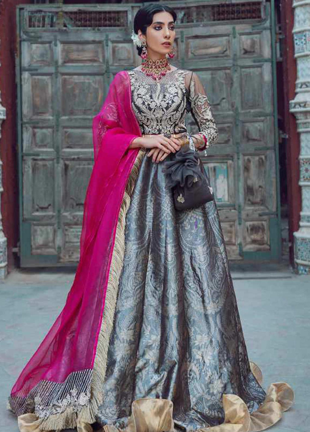 Grey Kinaar by Shiza Hassan Embroidered Poly Net Suit 3 Piece Suit - Mushk - Siya Fashions