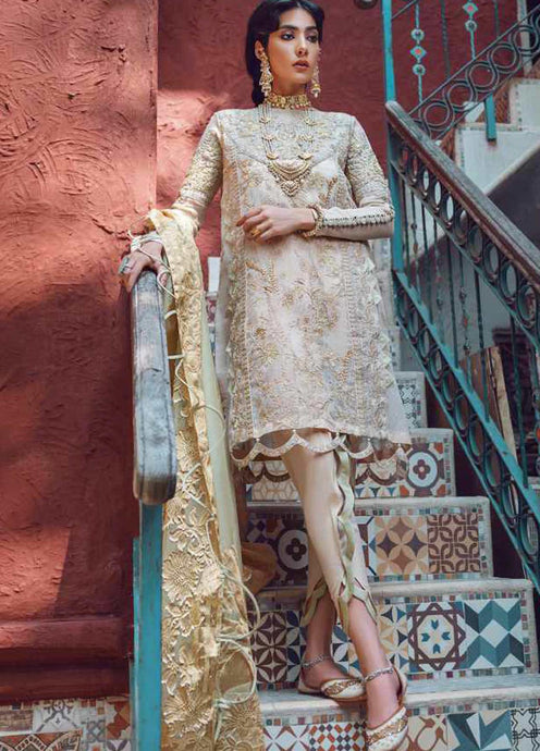 Ivory Kinaar by Shiza Hassan Embroidered Poly Net Suit 3 Piece Suit - Maahi - Siya Fashions