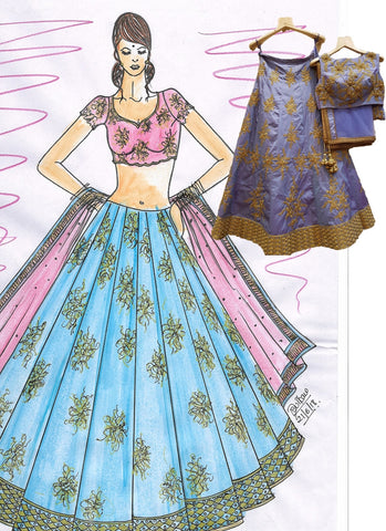 Clients Diary Silk Lehenga Choli In Lavender SFC120 - Siya Fashions