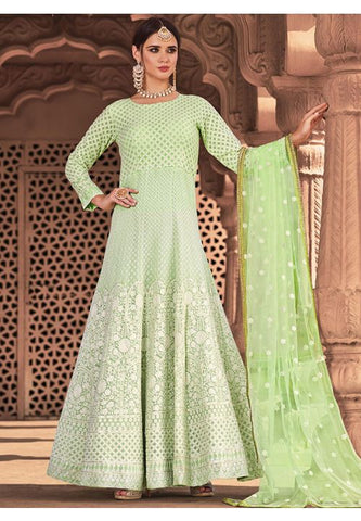 Invigorating Green  Readymade Anarkali Gown SFLA894 - Siya Fashions