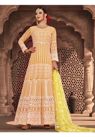 Invigorating Yellow Readymade Anarkali Gown SFLA893