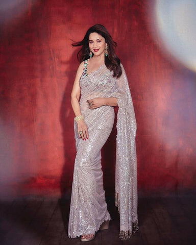 Bollywood Partywear White Saree In Georgette BOLY912 - Siya Fashions