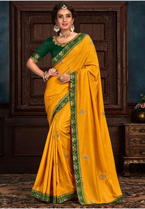 Yellow Art Silk Saree Green Raw Silk Blouse YD2153EX - Siya Fashions