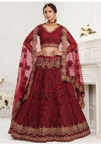 Ritzy Wine Bridal Lehenga Choli Net Stone Work BRIDE070 - Siya Fashions