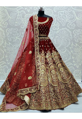 Royal Maroon Bridal Wedding Lehenga Choli Hand Embroidery SYDS787 - Siya Fashions