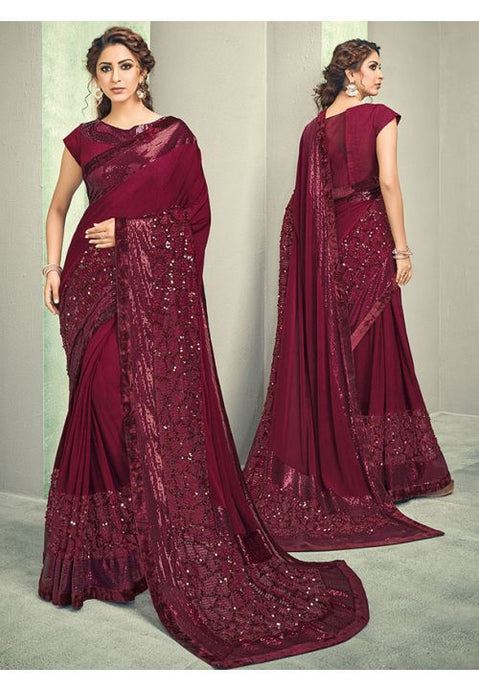 Indian Wedding Party Saree In Lycra Red Wine With Blouse SIYA656YSD - Siya Fashions