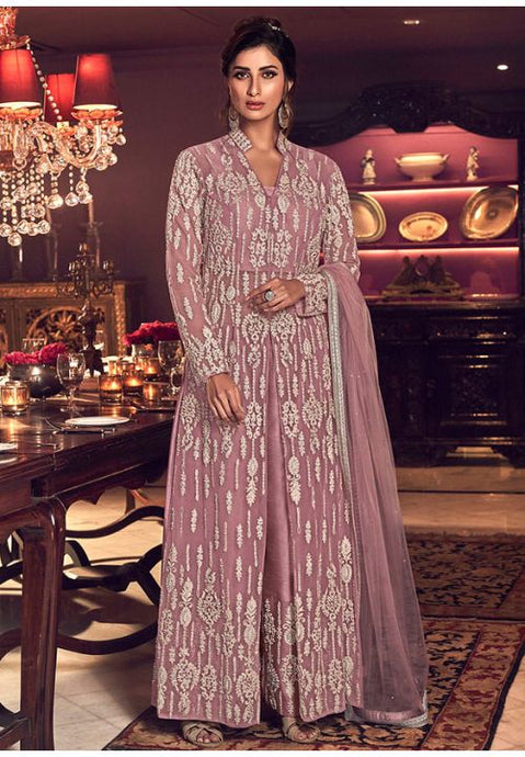 Alluring Purple Anarkali Long Suit In Net Silk Diamond Work SFYDS2084 - Siya Fashions