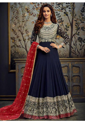 Blue Wedding Long Anarkali Gown Zari Work SFYDS46 - Siya Fashions