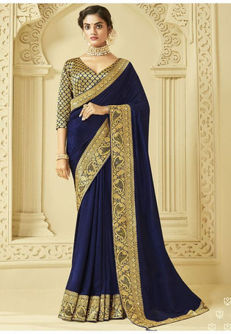 Navy Art Silk Saree With Brocade Blouse YDS1050 - Siya Fashions