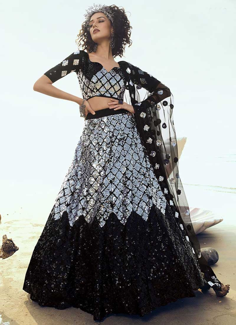 Black Silver Wedding Reception Net Lehenga Set SF2065FZD - Siya Fashions