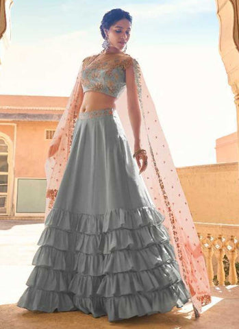 Desirable Grey Wedding Reception Lehenga Choli In Satin FSZ432 - Siya Fashions