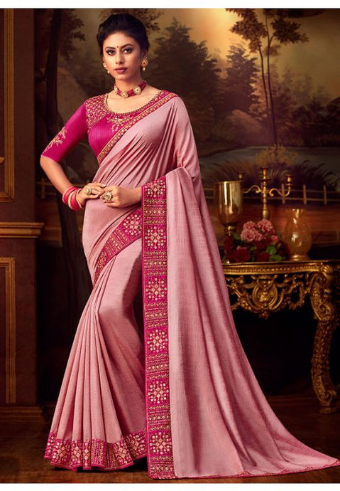Pink Silk Saree Pink Dupion Blouse With Stone Work YDS126SF - Siya Fashions