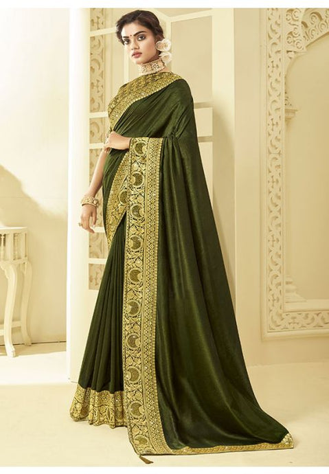 Green Art Silk Saree With Brocade Blouse YDS1048 - Siya Fashions