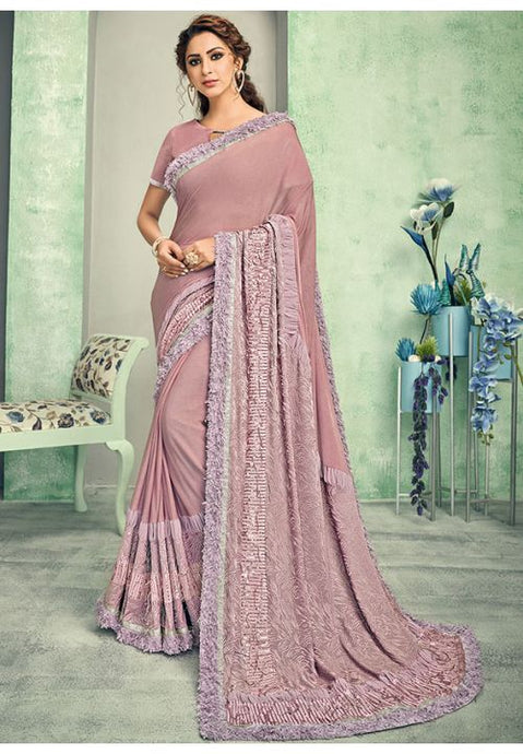 Indian Wedding Party Saree In Lycra Pink With Blouse SIYA54YSD - Siya Fashions