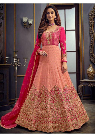 Pink Wedding Long Anarkali Gown Jacquard Silk SFYDS89 - Siya Fashions