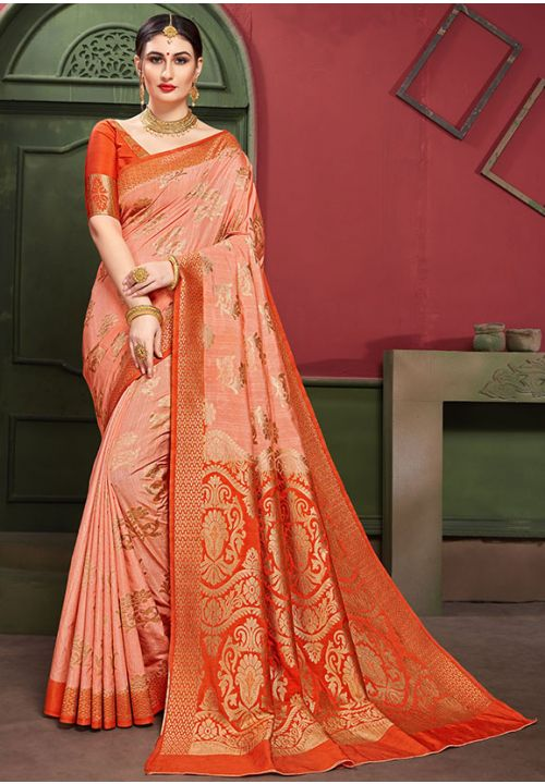 Peach Indian Wedding Partywear Saree In Banarasi Silk YDS1045