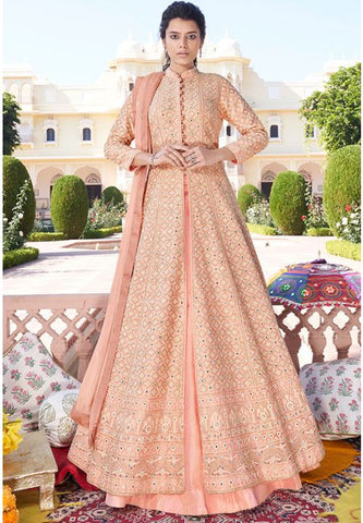 Designer Peach Long Readymade Anarkali Suit Lakhnavi Work APR2026 - Siya Fashions